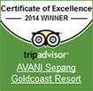 Trip Advisor certificate of excellence for AVANI Sepang