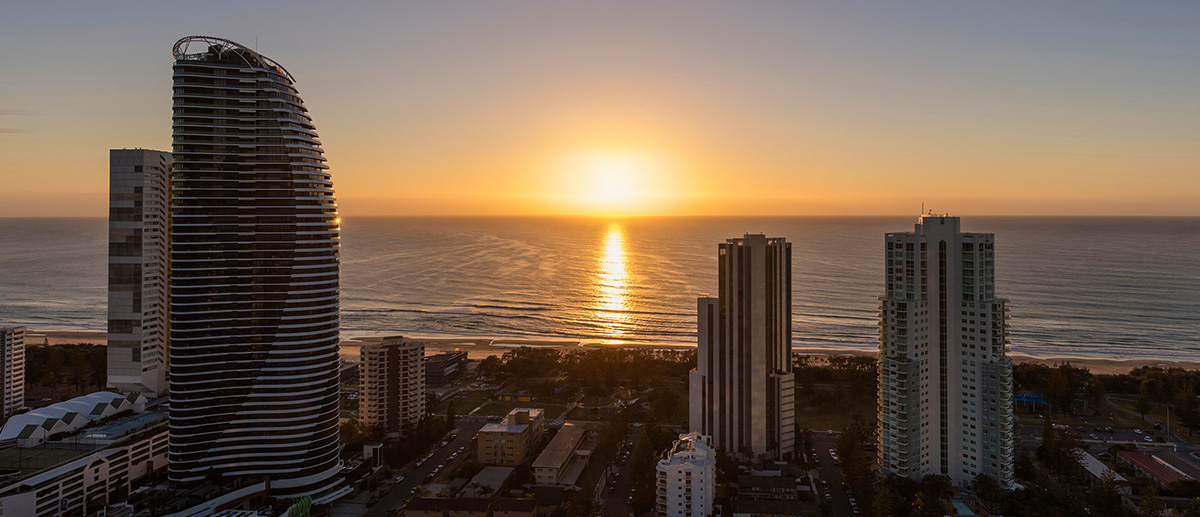 AVANI Broadbeach hotel close to beach private balcony views of ocean sunset Gold Coast