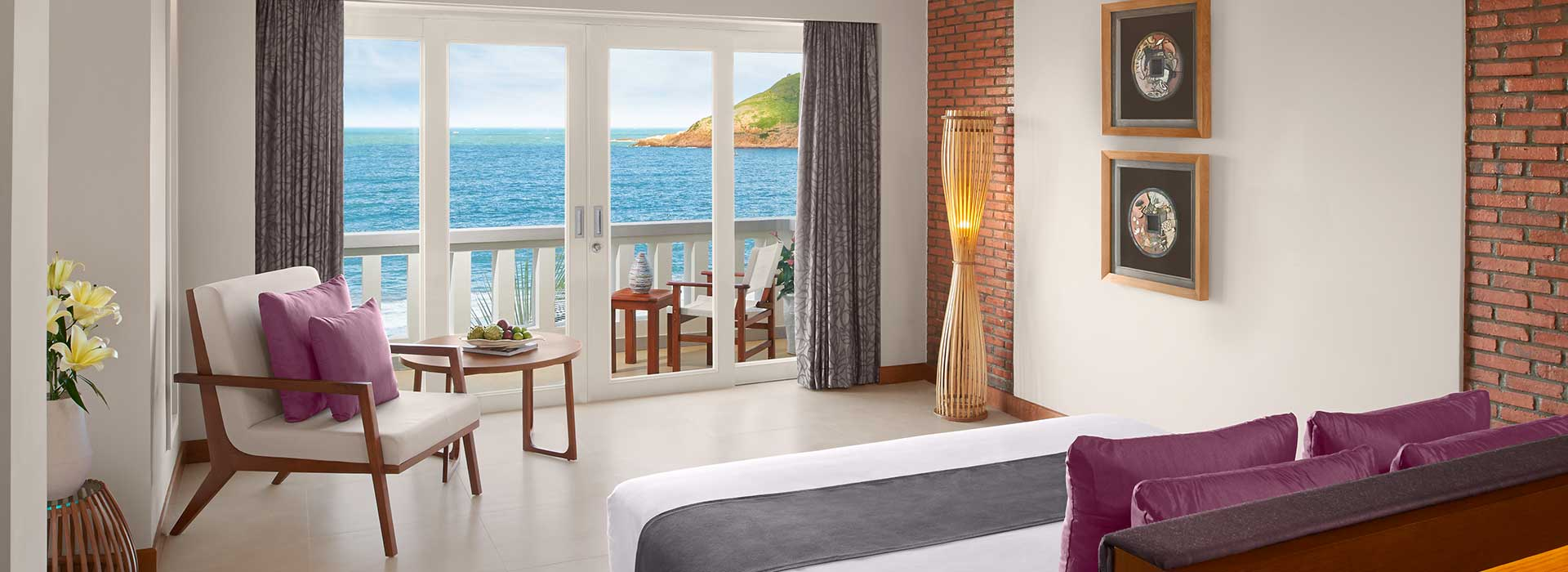 A double bedroom with sea views at AVANI Quy Nhon