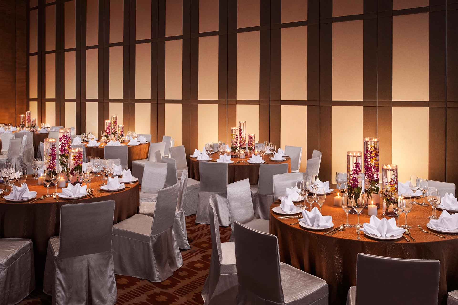 A meeting hall decorated for a wedding