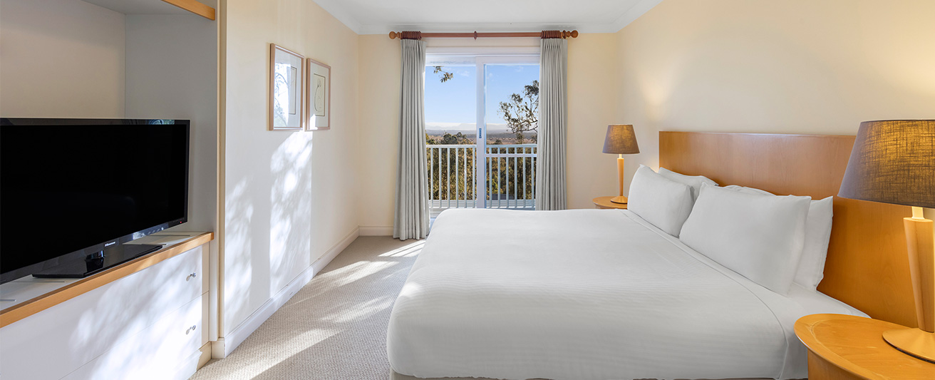 Spacious bedroom in 3 bed apartment at Oaks Cypress Lakes Hunter Valley resort in Pokolbin NSW Australia