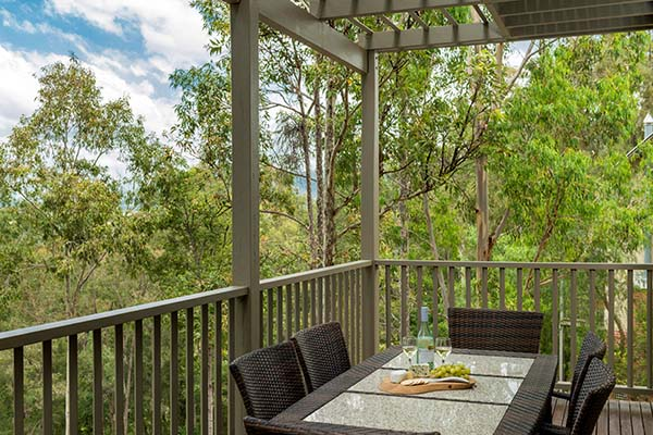 large balcony in 4 bedroom villa with plenty of room for families visiting hunter valley