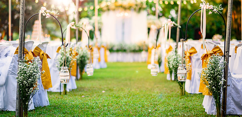 Cypress Lakes Resort Hunter Valley wedding aisle and decorations outdoors