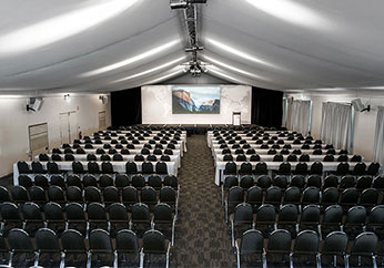 conference room for hire in hunter valley set up for event with catering projector microphone and whiteboards indoors