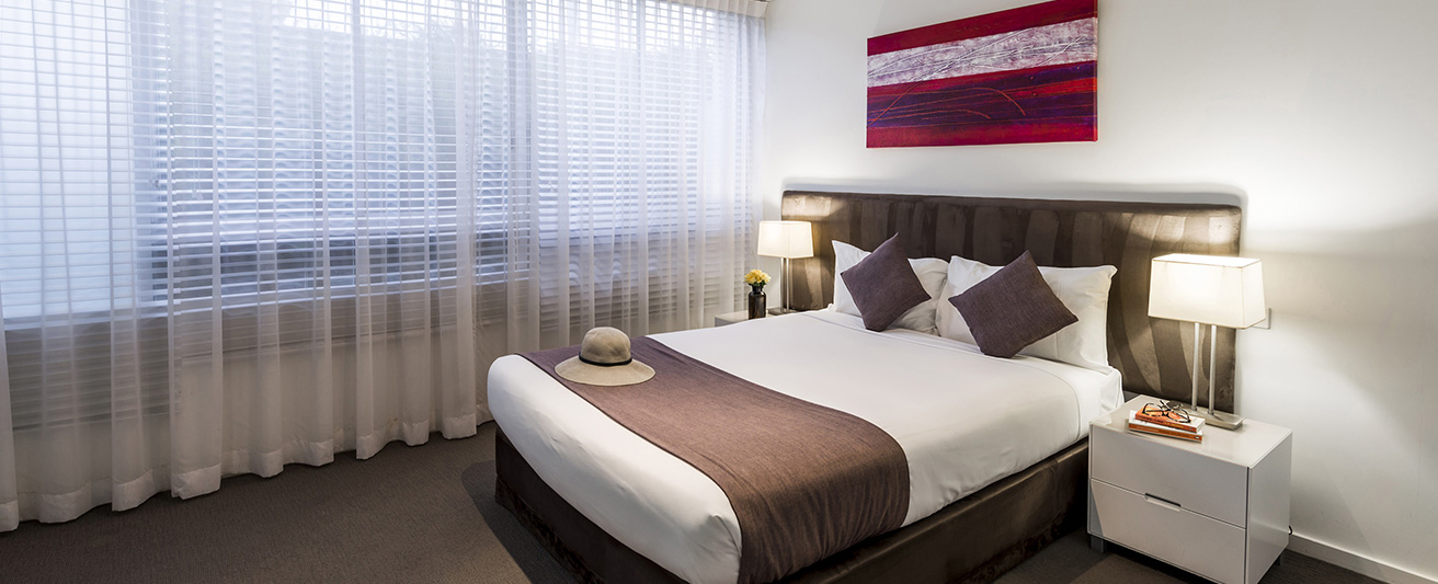 interior of family friendly 2 bedroom apartment with air conditioning and free wi-fi at Oaks Lure hotel in Nelson Bay