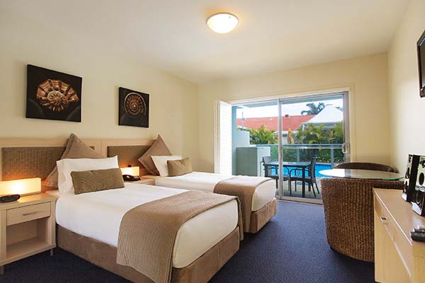 two single beds in port stephens at oaks pacific blue resort new south wales australia