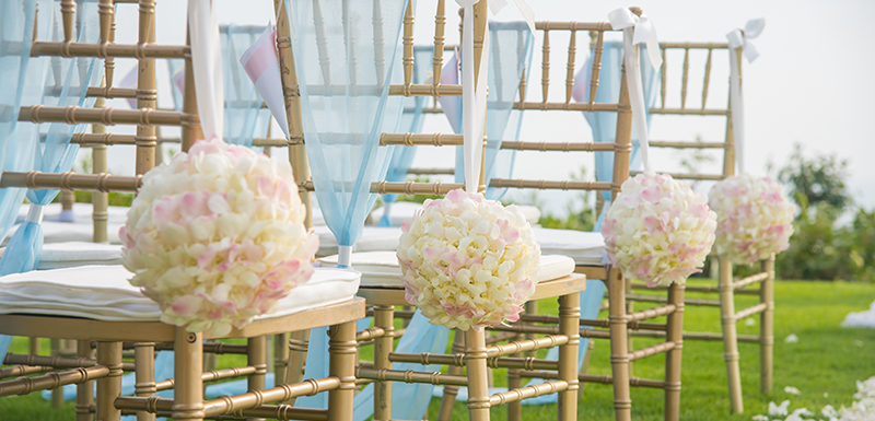 Oaks Pacific Blue Port Stephens wedding chairs lining aisle