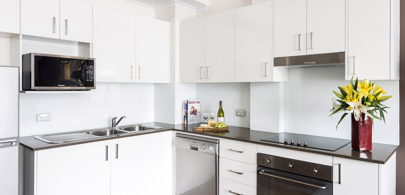 kitchen in 1 bedroom apartment in hotel near Darling Harbour in Sydney CBD