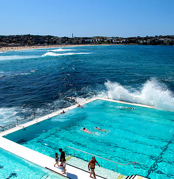 bondi icebergs swimming pool during summer with waves crashing
