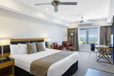 Darwin Harbour view bedroom accommodation with aircon and ceiling fan