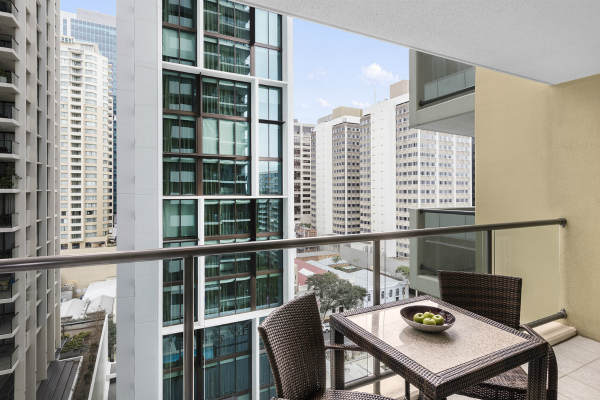 large balcony with views of Brisbane city at Oaks 212 Margaret St hotel, Brisbane, Queensland, Australia