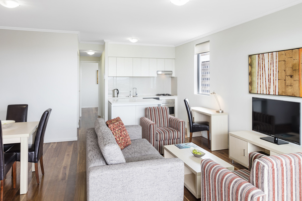 large living room in 2 bedroom apartment at Oaks 212 Margaret hotel in Brisbane CBD