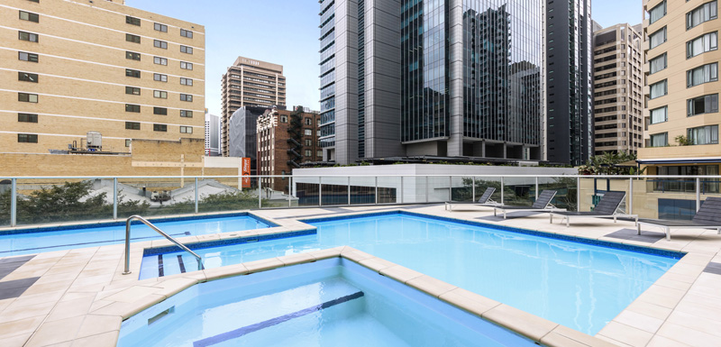 big swimming pool in Brisbane city for guests staying at Oaks Festival Towers hotel to enjoy