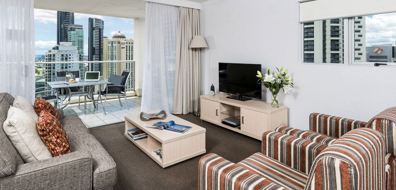 television and stereo in living room of 2 bedroom apartment at Oaks Lexicon Apartments in Brisbane city near train station