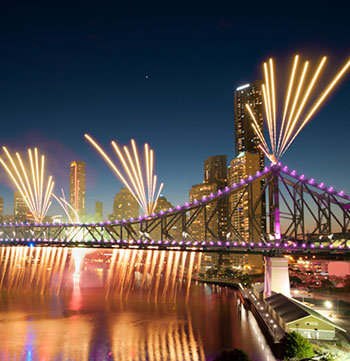 Story Bridge fireworks over Brisbane River during Brisbane Riverfire 2016 at night