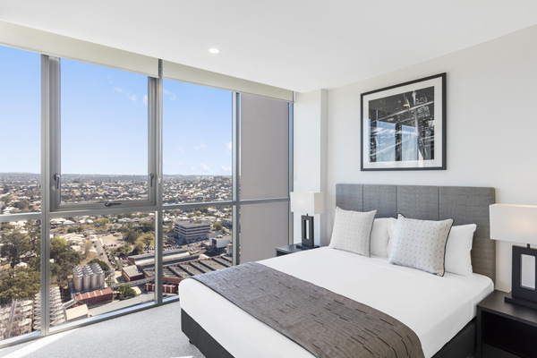air conditioned 1 bedroom river view apartment with large windows at The Milton Brisbane hotel