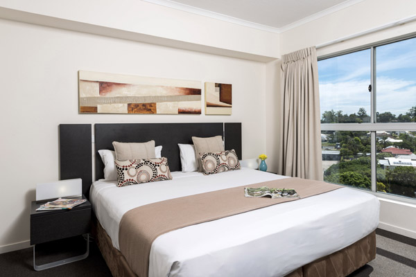 affordable 2 bedroom apartment master bedroom with comfortable queen size bed and air con in Ipswich, Queensland