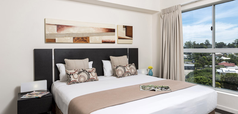 big master bedroom in 3 bedroom apartment at Oaks Aspire hotel Ipswich, Queensland