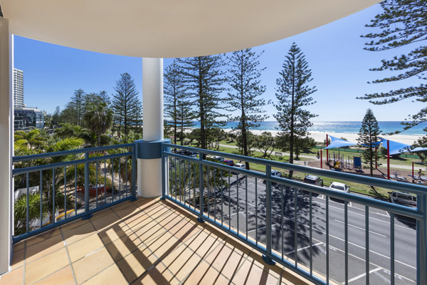 balcony with views of the ocean at Oaks Calypso Plaza hotel resort in Coolangatta on Gold Coast, Australia