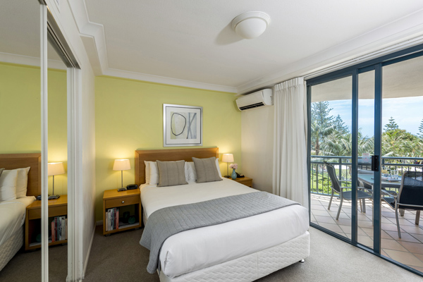 air conditioned 2 bedroom apartment with large wardrobes, full length mirror and lots of storage space in Coolangatta on Gold Coast