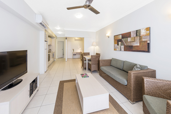 air conditioned 3 bedroom apartment with Wi-Fi comfortable couches and foxtel on TV in Port Douglas, Australia