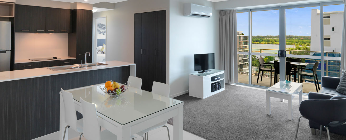 air conditioned accommodation Mackay with TV and Wi-Fi for guests and private balcony at Oaks Rivermarque hotel in Mackay, Queensland, Australia