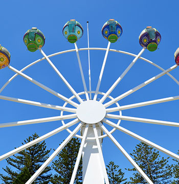 ferris wheel at The Beachouse family entertainment complex in Glenelg near Oaks Plaza Pier hotel in South Australia