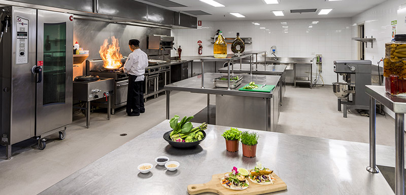 chefs preparing vegetarian meals in hotel kitchen for guests attending conference in Melbourne city, Victoria, Australia