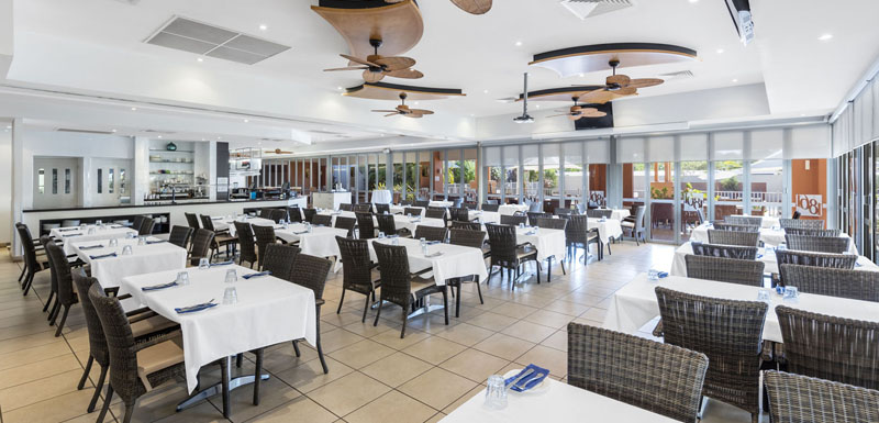 customers enjoying delicious vegetarian meals inside popular, air conditioned 1861 Restaurant and Bar in Broome, Western Australia