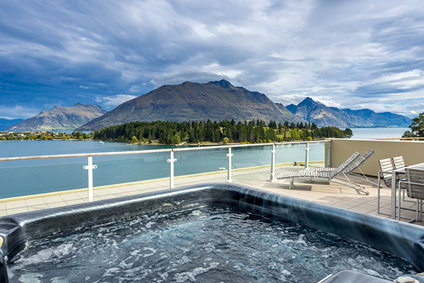 Hot Tub Spa Bath Jacuzzi On Private Balcony Of 2 Bedroom Apartment With Views
